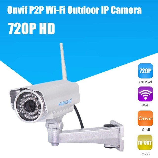 720P Wireless WiFi ONVIF HD Megapixel Manual Pan/Tilt IR Cut Outdoor Security Network IP Internet Camera