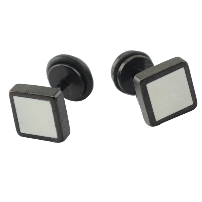 316l surgical stainless steel black plated square shaped earring jewelry stud earring unisex made china jewelry factory(China (Mainland))