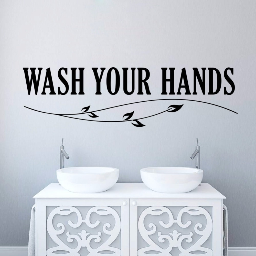 WASH YOUR HANDS Wall Characters stickers Decoration Bathroom Stikers Wall Stickers Home Decor QT8415(China (Mainland))