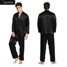 Lilysilk 100% Pure Silk Mens Long Pajamas 22 Momme Long Sleeve V Neck Elastic Waist Exotic Button Spring Sleepwear Free Shipping(China (Mainland))