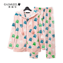 2015 cartoon song Riel thicker long sleeved flannel pajamas men and women couple home service package