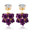 New Brand Double Side Zircon Rose Flower Studs Earring Cocktail Party Jewelry 18K Gold Plated Small