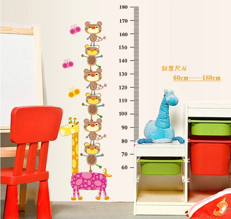 Real cartoon giraffe height stickers for kids rooms decor for Vinilos pared aliexpress