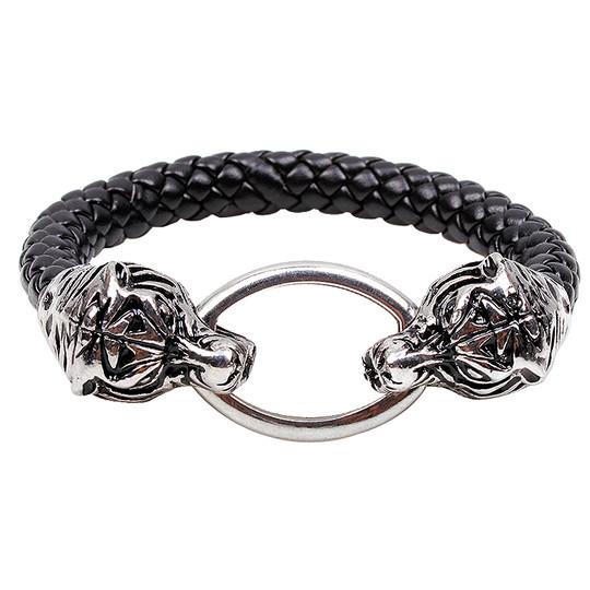 Vintage Black Men s Leather Bracelet Silver Chinese Dragon Bracelet Male Jewelry Wristbands Bracelet titanium steel