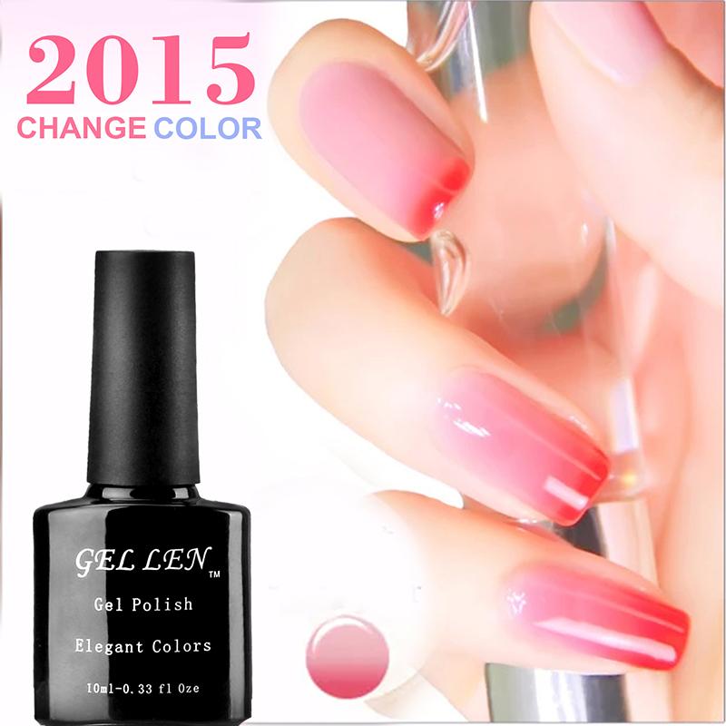 Gel Len Fashion LED Gel Polish 10ML Top Quality Long Lasting Nail Art Temperature Change Gel Polish Soak Off Gel Professional(China (Mainland))