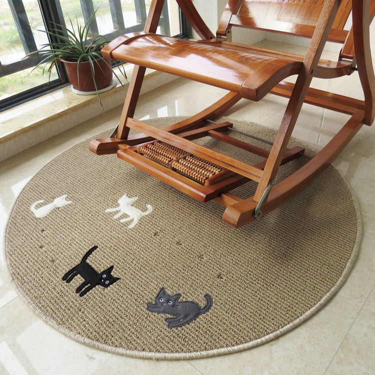 Round cat washable carpet non-slip mat computer chair cushion cartoon rug living room table carpet room floor mat free shipping()