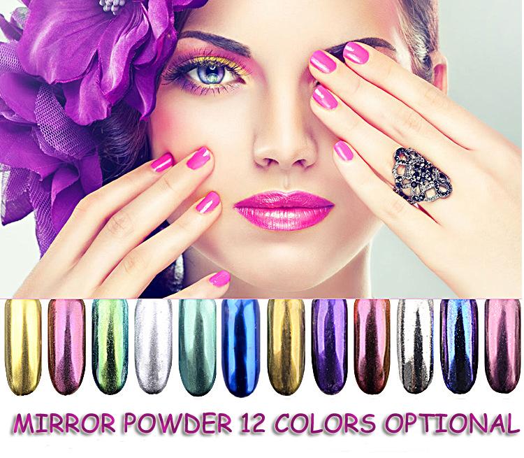 2g/box Shinning Mirror Nail Glitter Powder Dust DIY Nail Art Sequins Chrome Pigment Decorations 12 Colors Optional(China (Mainland))