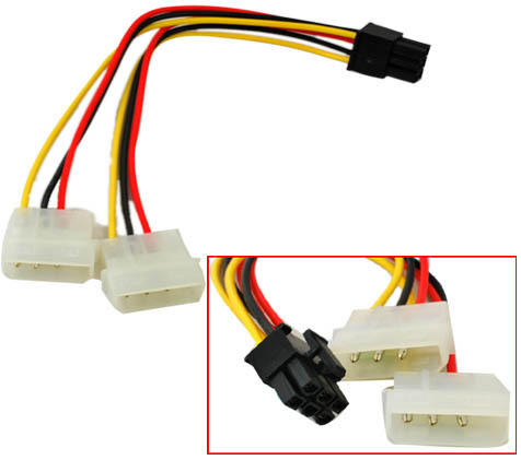 HQmade Dual 4-Pin Molex to 6-Pin Connector for PCI Express PCI-E Video Card use Internal Power Supply Cable(China (Mainland))