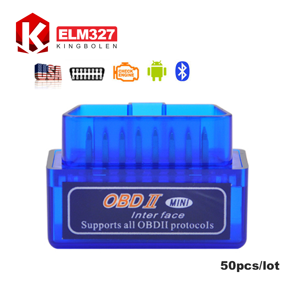 [50pcs/lot]Universal OBD V2.1 ELM327 OBD2 Bluetooth Auto Scanner OBDII 2 Car ELM 327 Tester Diagnostic Tool for Android(China (Mainland))