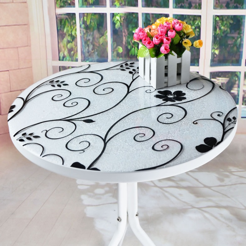 waterproof print pvc soft glass round dining table cloth crystle board