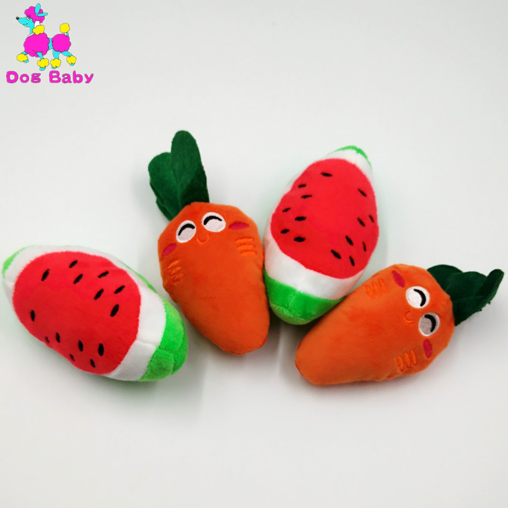 100% Cotton Dog Toys Pet Puppy Chew Squeaker Sound Fruits Vegetables And Feeding Bottle Toys Watermelon Carrot Designs Dog Toys(China (Mainland))