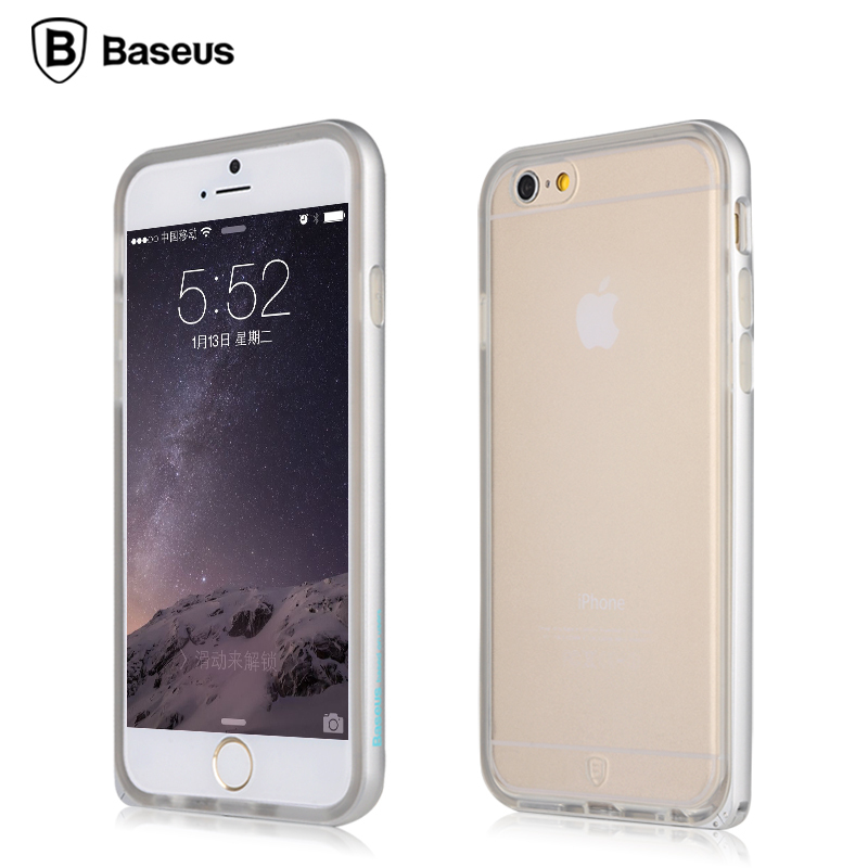 Brand Baseus Phone Case Telephone Cell Metal Frame+TPU Protective Cover for Apple IPhone 6 5 Colors Available 4.7 Inch(China (Mainland))