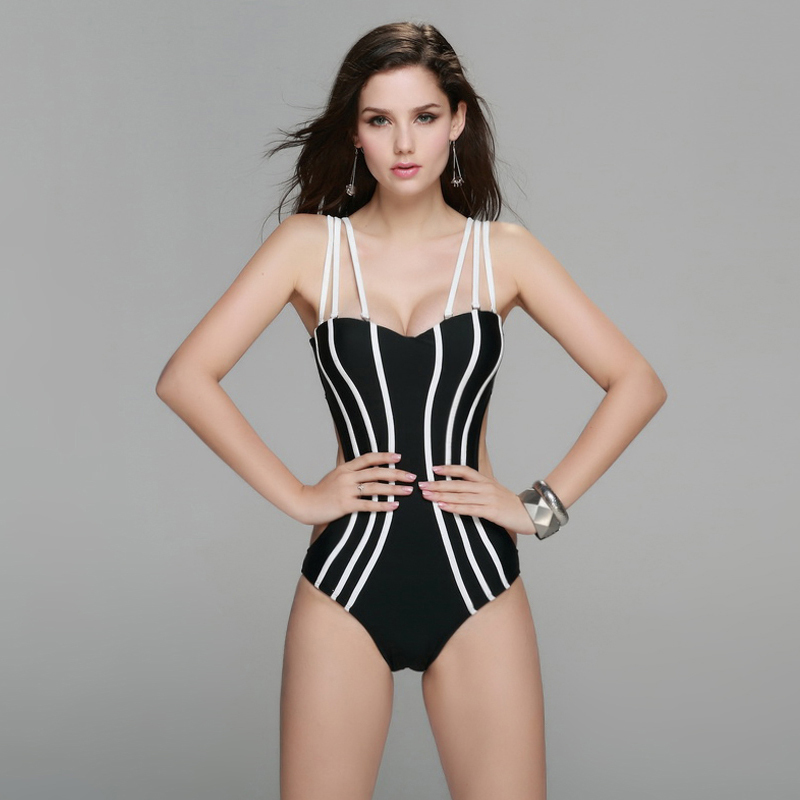 Ladies high quality swimsuit women s one piec balconette cup swimwear with three detachable straps free