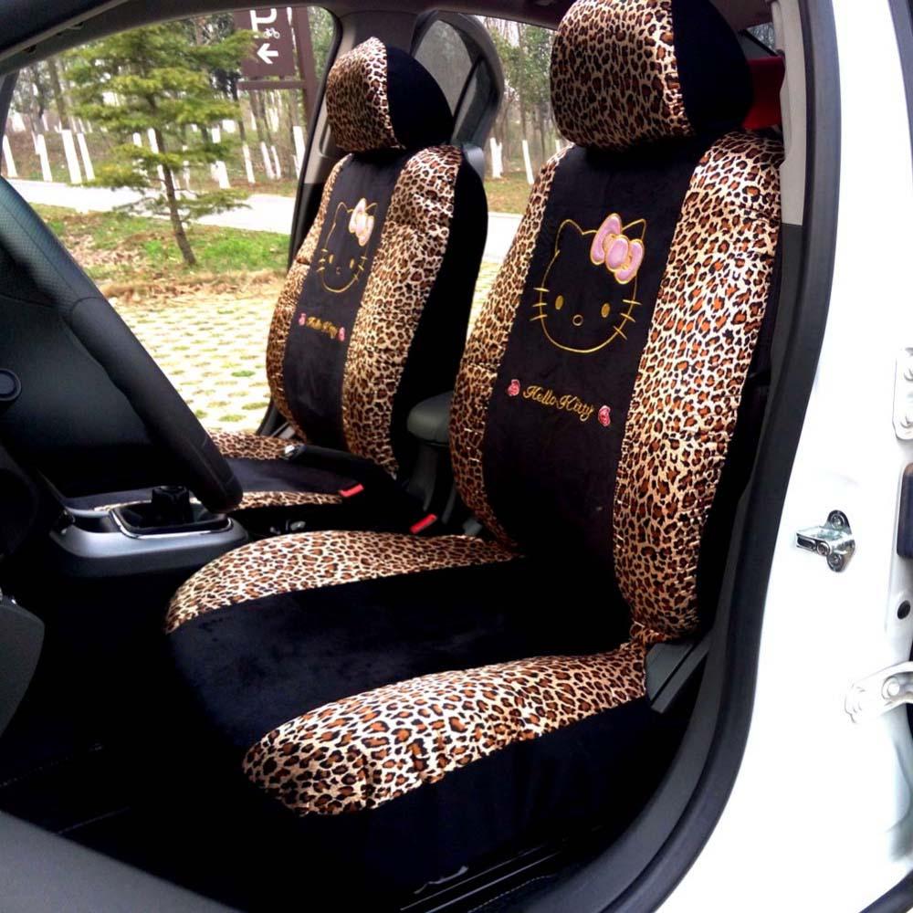 10pcs Universal Car seat Covers Leopard Cartoon Universal Hello Kitty Car Seat Covers Universal Car interior Accessories(China (Mainland))