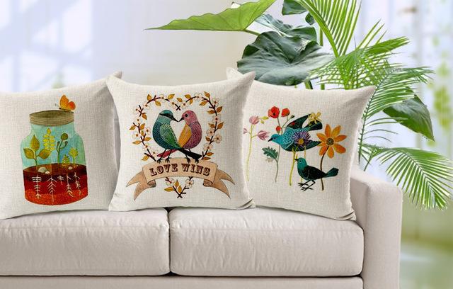 Comprar nordic pintado a mano p jaros de - Fotos de cojines decorativos ...