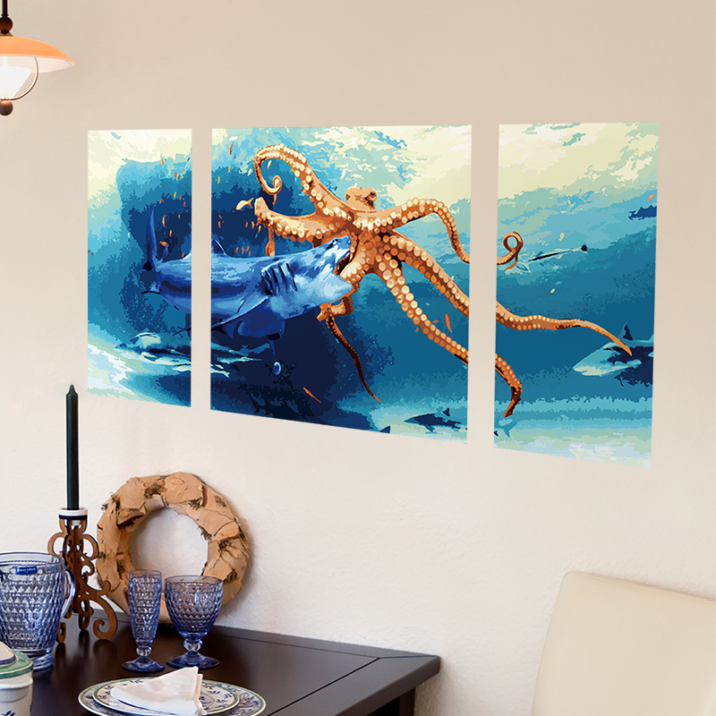 Shark and Octopus 3D Wall Sticker PVC Material 3D Wall Posters for Kids Rooms Living Room Decoration Mural Sticker(China (Mainland))