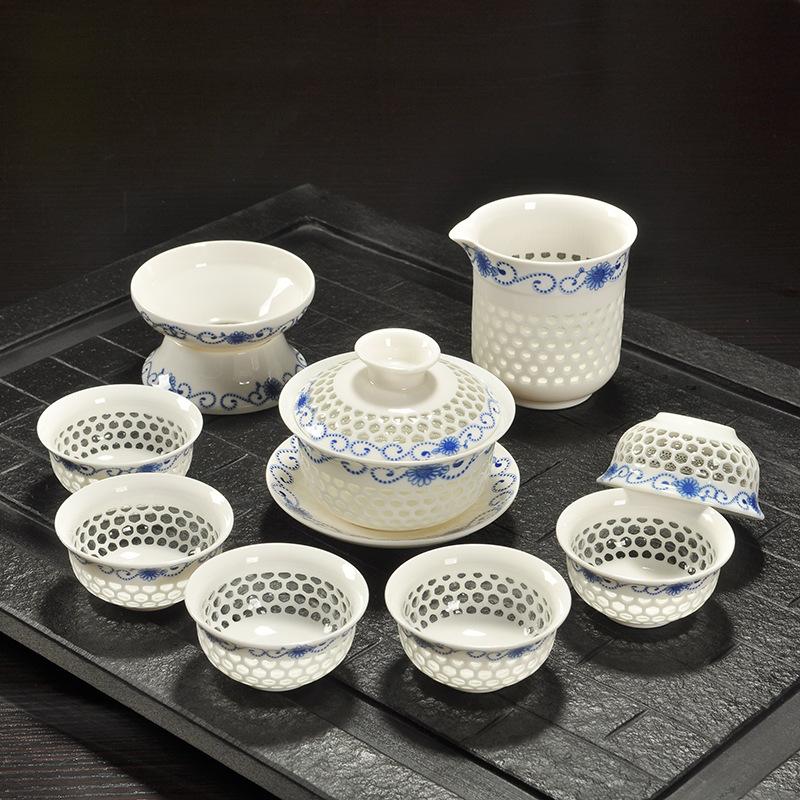 Blue And White Porcelain Tea Set Dehua Handmade Ceramic Hollow Crystal Manufacturers Wholesale Kung Fu Tea Set(China (Mainland))