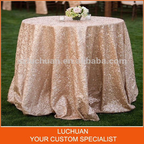 Romantic Style Fancy Gold Sequin Table Linen Wedding Tablecloth(China (Mainland))