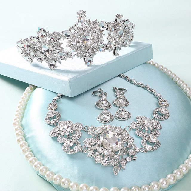 wedding accessories set white rhinestone bridesmaid jewelry 3pcs set