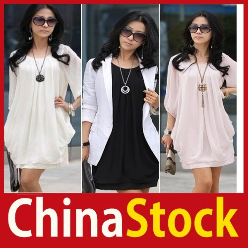 [China Stock] Womens Girl Chiffon 3 4 Sleeve Loose Cocktail Club Summer Mini Tunic Dress Black Better Price(China (Mainland))