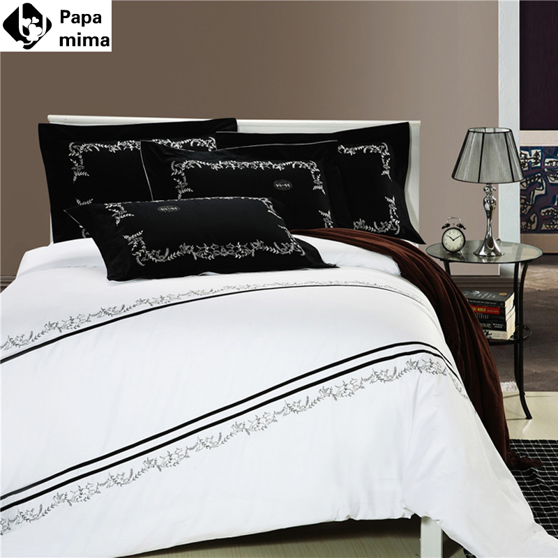 Papa&Mima Simple Elegant Queen/King Egyptian Cotton Fabric Bedlinens Hotel use Embroidered border flat sheet bedding sets(China (Mainland))