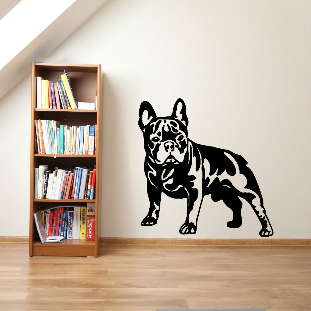 Cutom color french bulldog dog vinyl wall art sticker for Stickers muraux