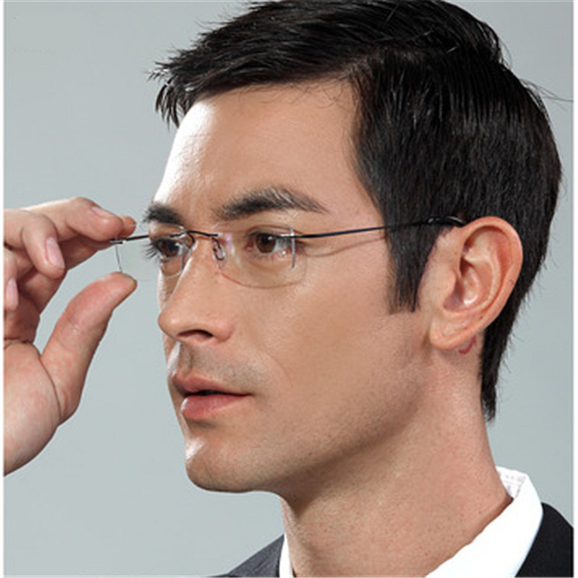 Frameless Mens Glasses : Memory Titanium Eyeglasses Frame Men women Ultralight ...