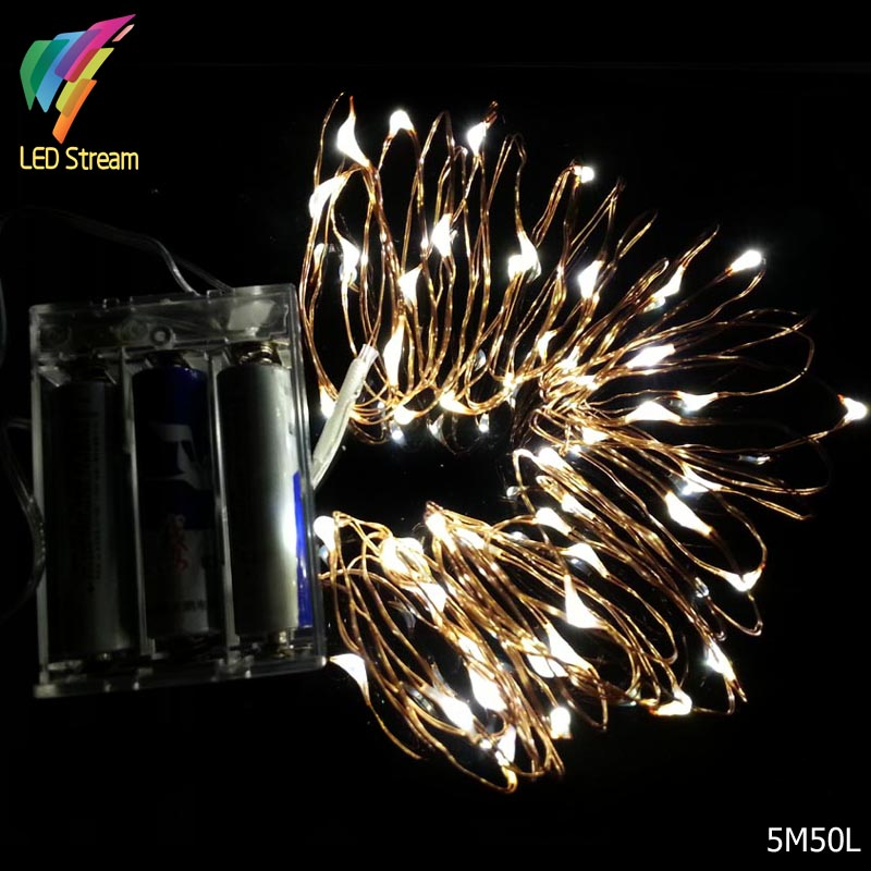 Battery Operated 5M 50leds Mini LED Decorative Copper Wire Fairy String Lights lamp for Christmas, Holiday, Wedding and Parties(China (Mainland))