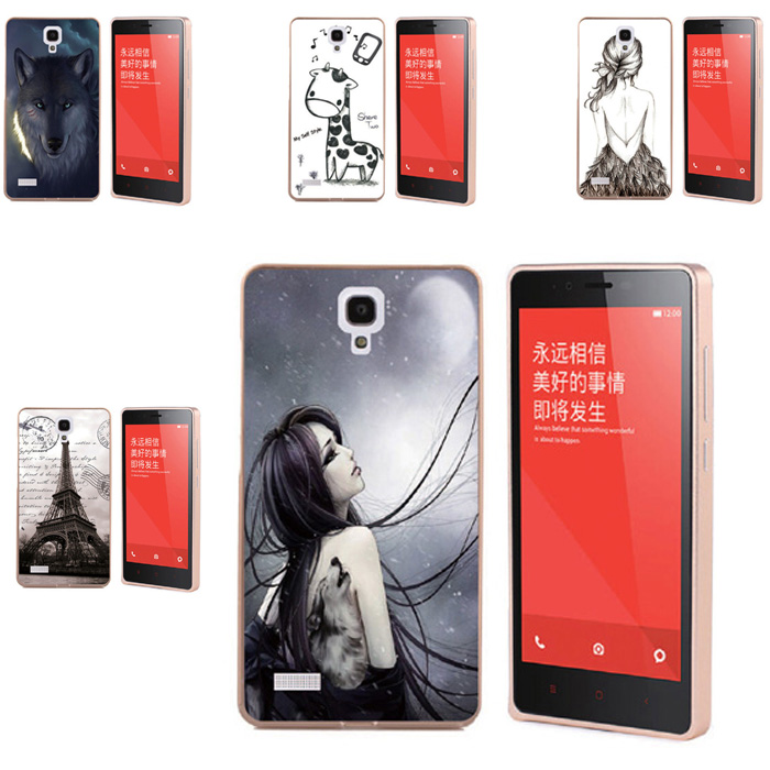 Coloured Drawing Cell Phone Hybrid Protector Accessories Metal Frame Bumper With Acrylic Backplane Case For Xiaomi Redmi Note(China (Mainland))