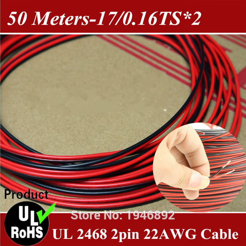 50 Meters/lot-Tinned copper 22AWG, 2 pin Red Black cable, PVC insulated wire,Electric cable, LED cable 17/0.16TS*2(China (Mainland))