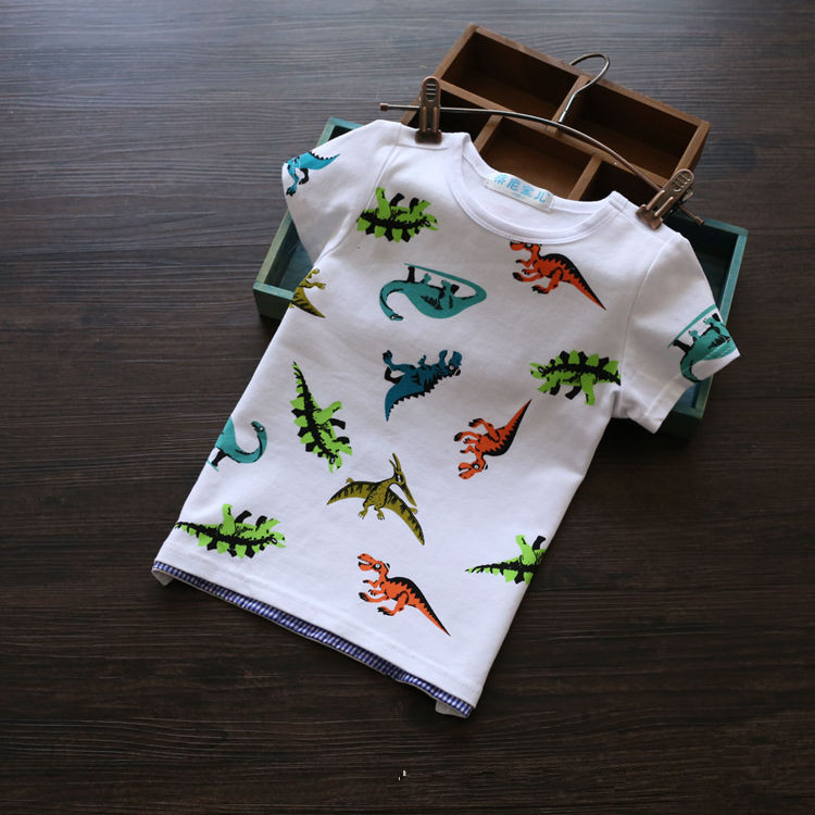 Hot sale Children Cartoon dinosaur T shirt Boys Short Sleeve Casual style Tops T-shirt high quality Kids Tees(China (Mainland))