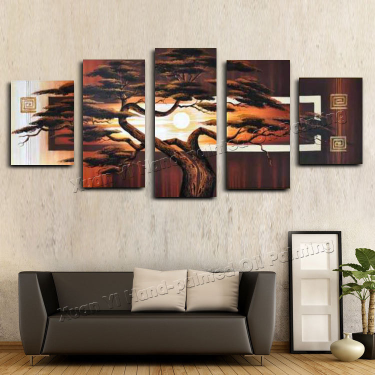 Hand Painted Wall Art Tree Sunshine Red Sun Mountain African Art Wall