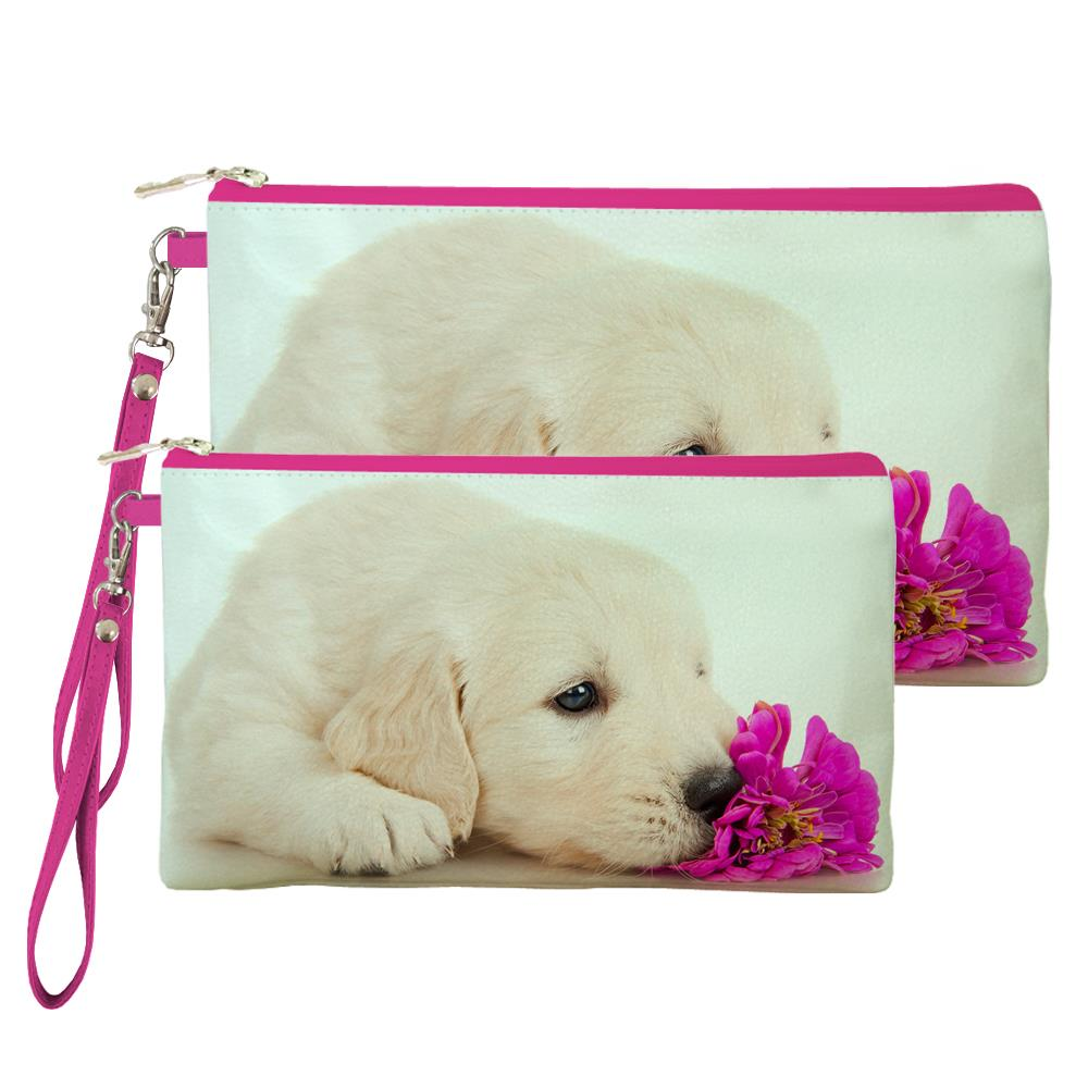 Dog Smelling Flower Print Custom Lovely Change Wallet/Mobile Phone bag/Clutch/Handbag Women Key Coin Purse Female Portable(China (Mainland))