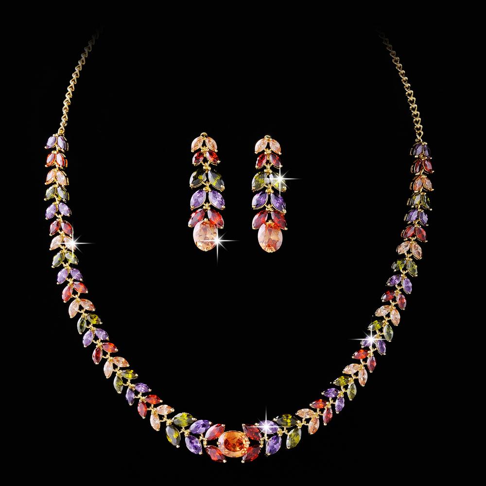 Здесь можно купить  Jewellery colorful luxury crystal necklace earrings will the bride marry yarn jewelry jewelry dress  gift  Ювелирные изделия и часы