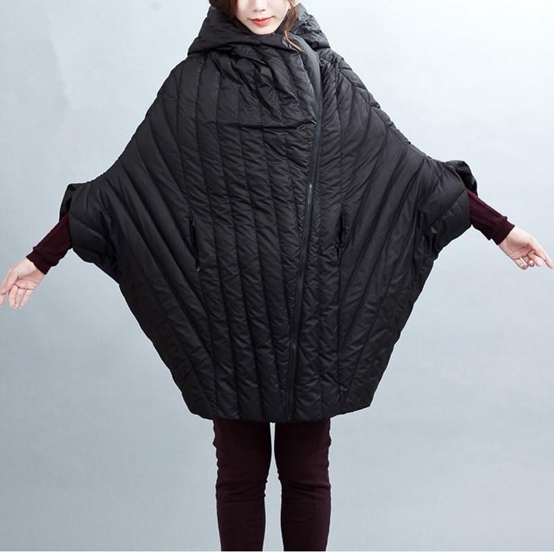 2016 новый оригинальный дизайн женские зимние Белая утка вниз куртки с капюшоном куртки рыхлый кокон Тип седьмой рукавом длинное пальто JA060