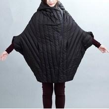 2016 New Original Design Women's Winter White Duck Down Jacket Loose Cocoon Type Hooded Jackets Seventh Sleeve Long Coat JA060