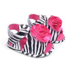Summer Cute Kid Girl Baby Princess Shoes Sapatos Flower Zebra Newborn Soft Soled Baby Summer Shoes Dress Shoes First Walkers(China (Mainland))