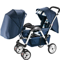 2016 Twins Baby Stroller Strong Steel Shockproof Strollers for twins Portable Travel Folding Twins Baby pram