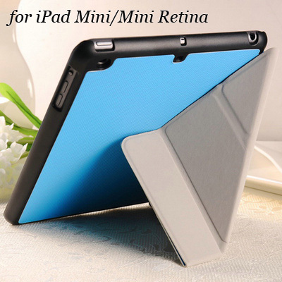 5 Shapes Transfer PU Leather Stand case for iPad Mini / Mini Retina 2 3 New Smart cover luxury Red Pink White Black Blue Green(China (Mainland))