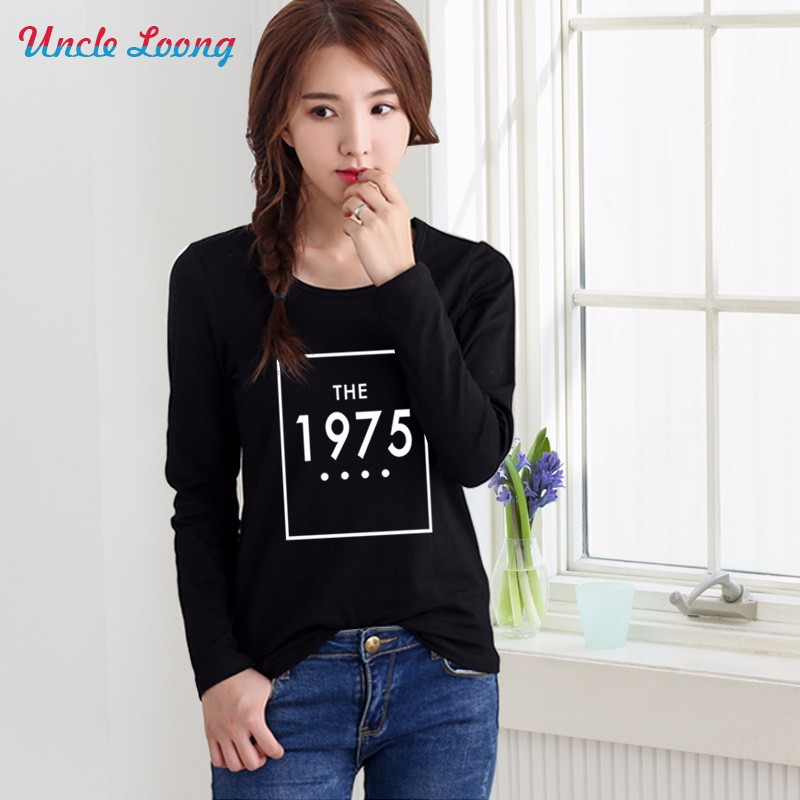 Women 2016 Long Sleeve THE 1975 Letter Print Tumblr Tshirt Female Fashion T-shirts Autumn Women Tops Tee Shirt Femme