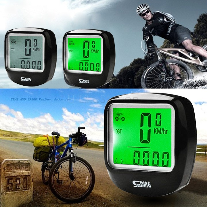 Hot Sale Waterproof Cycling Bike Bicycle Cycle LCD Computer Odometer Speedometer Wtih Green LED Backlight 34(China (Mainland))