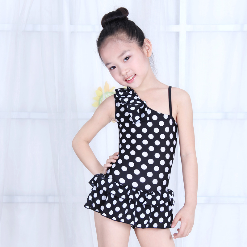 2015 New Quality Child one-piece bathing suit polka dot swimwear children swimsuit teenage girl free swimming cap 3-14T  -  About Kids store