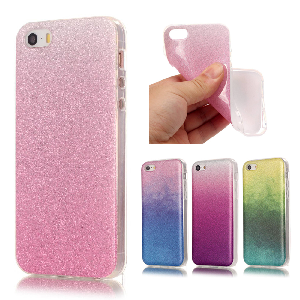 PINK Coque iPhone 5c Case Luxury Silicone Glitter Bling Back Cover fundas iPhone 5 c Transparent Edge Gradient Cases