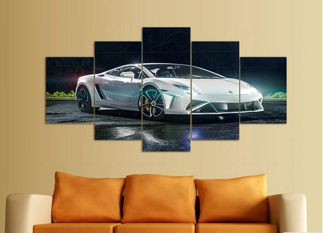 Cadre Mural Moderne Noir De Photos : D� coration murale moderne blanc sport groupe de voiture imprimer