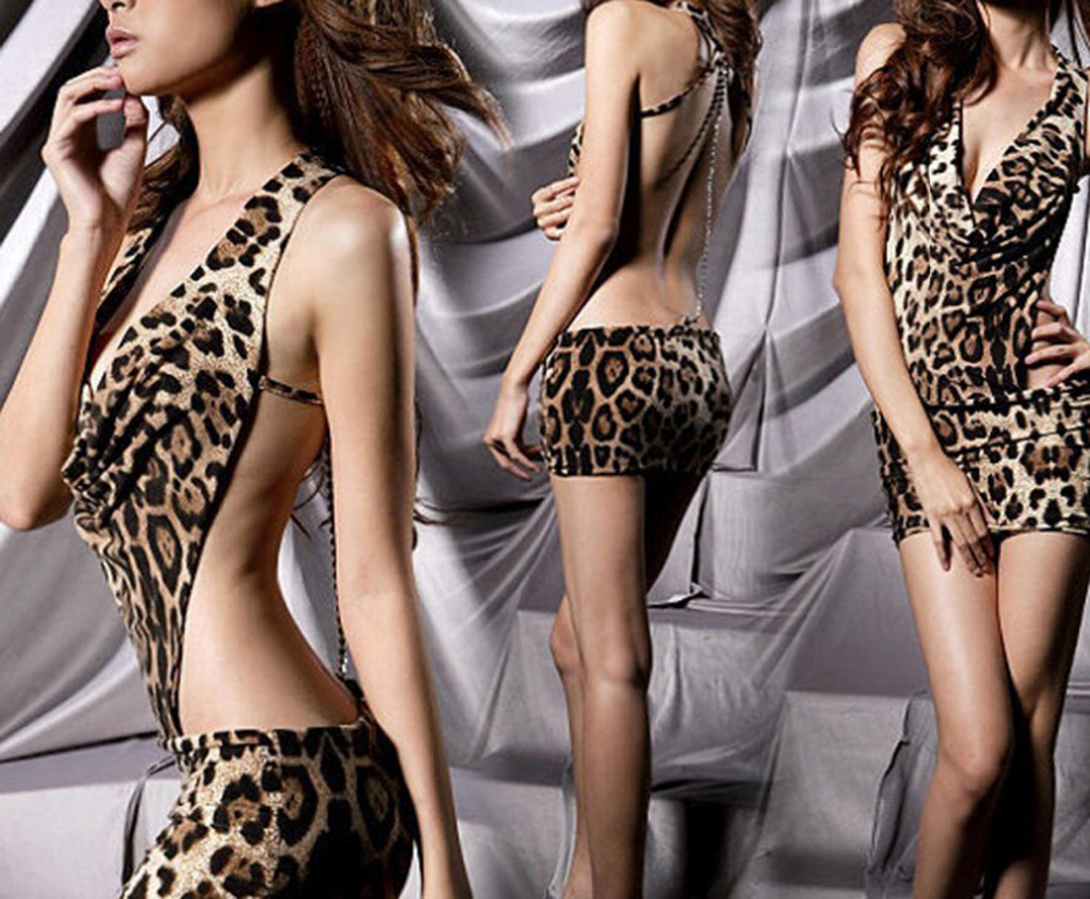Sexy lingerie Women Dress Iron Chain Game Uniforms Set Leopard Enchanting Evening Dress Stage Clothes Pole Dancing Hot(China (Mainland))