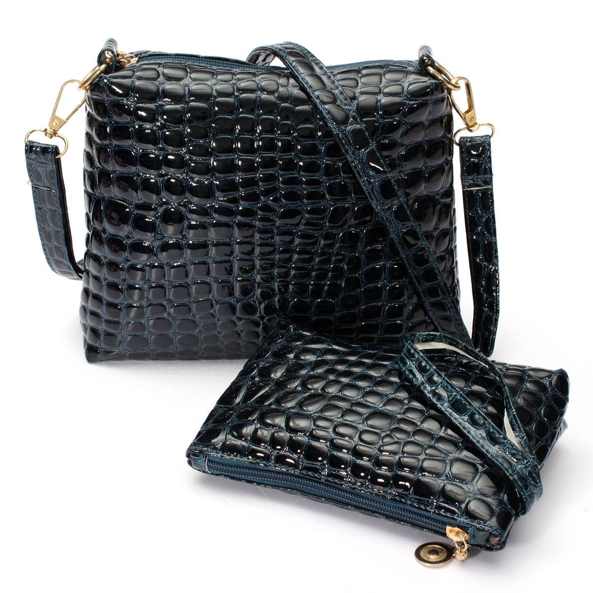2015 Women Messenger Shoulder Bag Crocodile PU Leather Casual Crossbody Quilted Bags Set Women Clutch Composite Handbags<br><br>Aliexpress