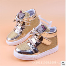 2016 new Girls Hello Kitty Rhinestone High Casual Shoes Children Sneakers winter and autumn style(China (Mainland))