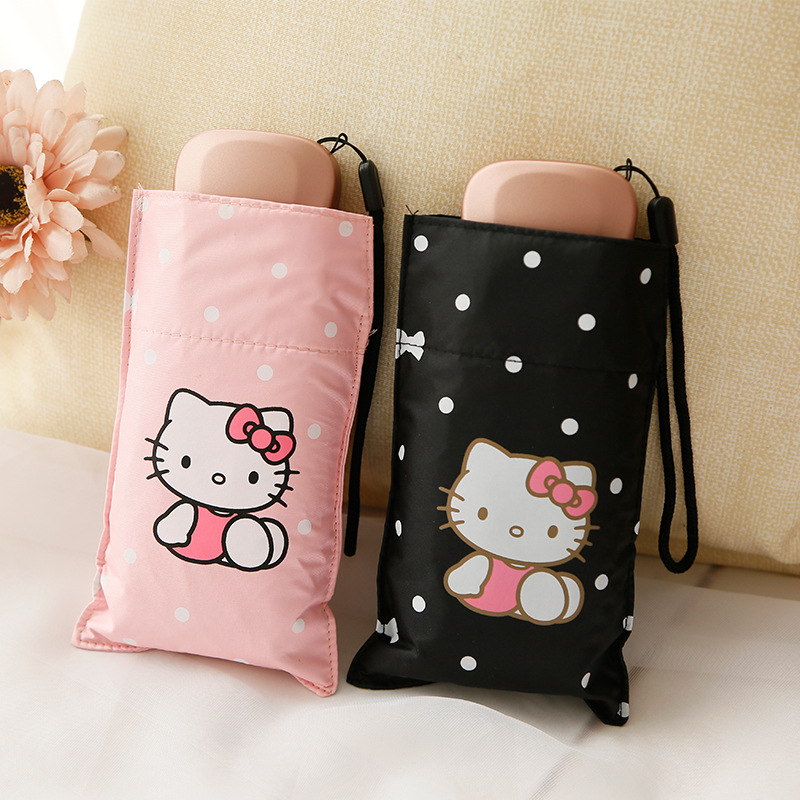 Lovely Cartoon Hello Kitty Children Anime Umbrella For Kids Girl Cute Pocket Mini Umbrella Pink Black Umbrella(China (Mainland))