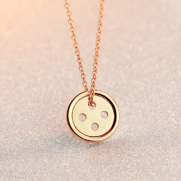 18K Rose/Yellow Gold Plated Titanium Steel Lucky Buttons Pendant Necklace Fashion Brand Jewelry for Women Free Shipping (GN053)(China (Mainland))