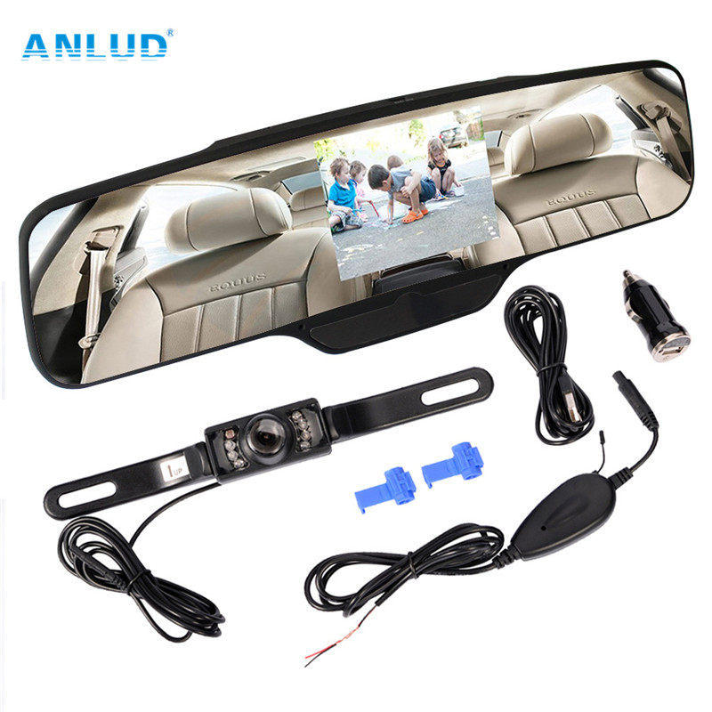 """Anlud PZ-90C Rearview Mirror 4.3 Display Wireless Backup Reversing Camera Car Auto Reverse Parking Rearview Mirror 4.3"""" Color(China (Mainland))"""